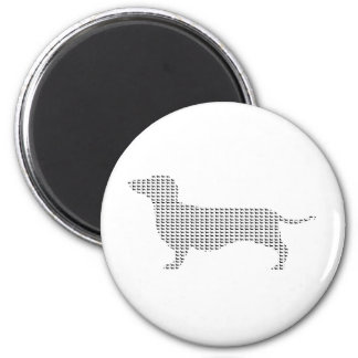 Dachshund Silhouette From Many 6 Cm Round Magnet