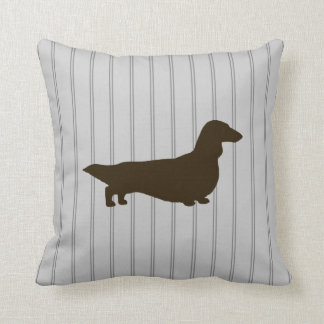 Dachshund Silhouette (Long Haired Doxie) Throw Pillow