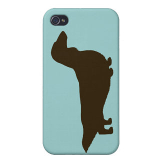 Dachshund Silhouette (Longhaired Dachsie) Cover For iPhone 4