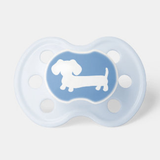 Dachshund Silhouette on Blue Baby Pacifiers