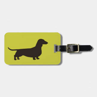 Dachshund Silhouette on Green (Color Customizable) Luggage Tag