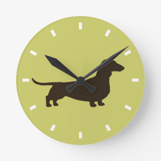 Dachshund Silhouette on Green - Color Customizable Round Clock