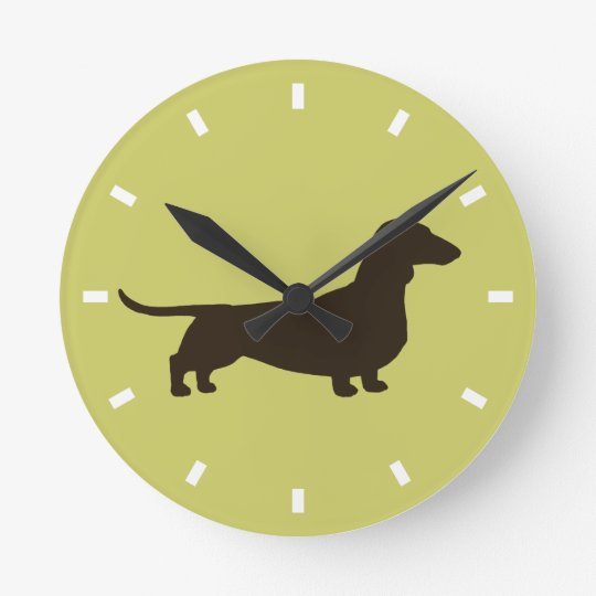 Dachshund Silhouette on Green - Colour Round Clock