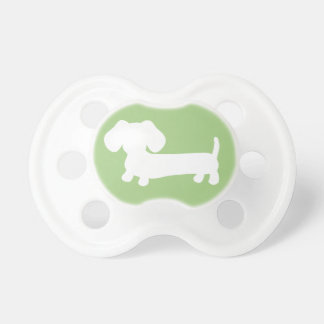 Dachshund Silhouette on Green Gender Neutral Baby Pacifiers