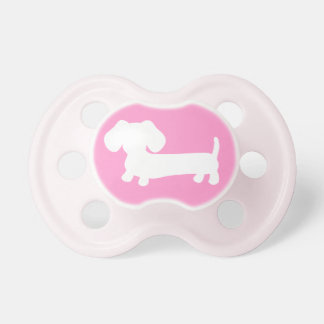 Dachshund Silhouette on Pink Baby Pacifiers