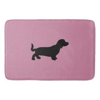 Dachshund Silhouette Pink Bath Mat Bath Mats