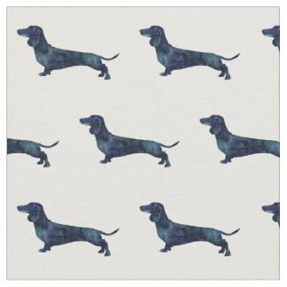 Dachshund Silhouette Tiled Fabric