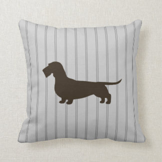 Dachshund Silhouette (Wire Haired Doxie) Throw Pillow
