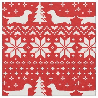 Dachshund Silhouettes Christmas Pattern Fabric