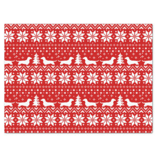 Dachshund Silhouettes Christmas Pattern Tissue Paper