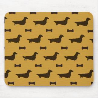 Dachshund Silhouettes Pattern (Long Hair Dachsies) Mouse Mat