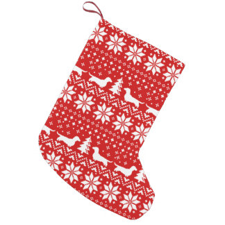 Dachshund Silhouettes Pattern Red and White Small Christmas Stocking