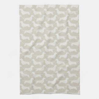 Dachshund Silhouettes Pattern Tea Towel