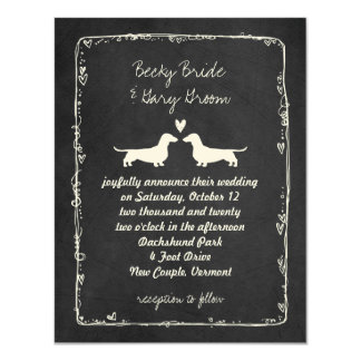Dachshund Silhouettes Wedding 4.25x5.5 Paper Invitation Card