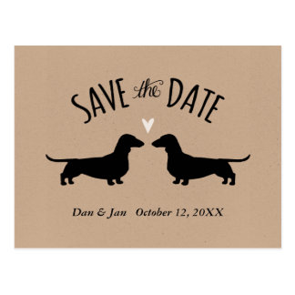 Dachshund Silhouettes Wedding Save the Date Postcard