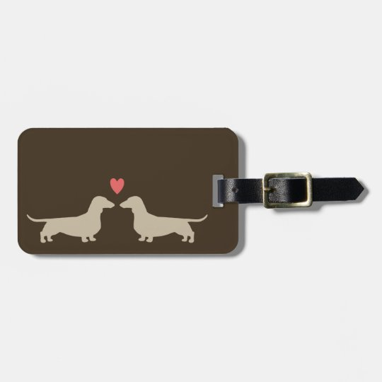 Dachshund Silhouettes with Heart and Custom Text Luggage