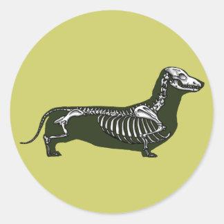 dachshund skeleton round sticker