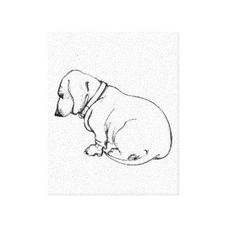 dachshund sketch on stretched canvas