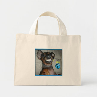 Dachshund Smile for a peaceful world Canvas Bags