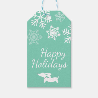 Dachshund Snowflake Christmas Winter Gift Tags