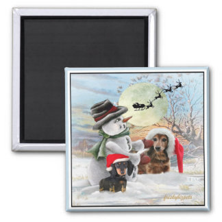 Dachshund Snowman Gifts Square Magnet