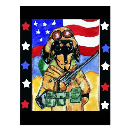 Dachshund Soldier Postcard