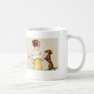 Dachshund Standing for Glamorou Art Deco Woman Basic White Mug