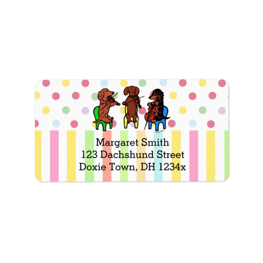Dachshund String Trio Address Label