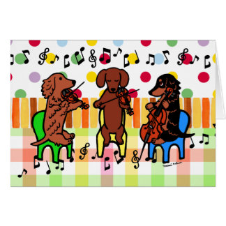 Dachshund String Trio Birthday Card