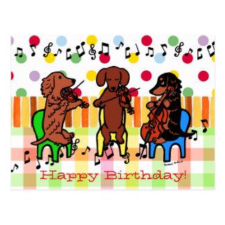 Dachshund String Trio Birthday Postcard
