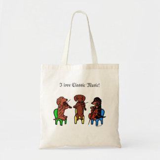 Dachshund String Trio Budget Tote Bag