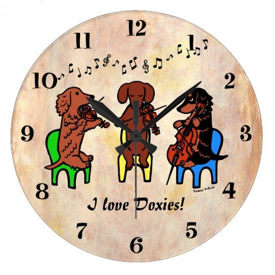 Dachshund String Trio Large Clock