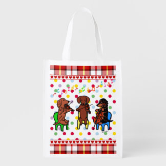 Dachshund String Trio Grocery Bags