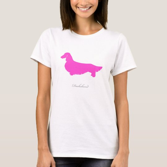 Dachshund T-shirt (pink long hair version 1)