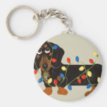 Dachshund Tangled In Christmas Lights Blk/Tan Basic Round Button Key Ring