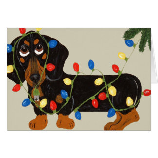 Dachshund Tangled In Christmas Lights Blk/Tan Greeting Card