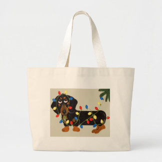 Dachshund Tangled In Christmas Lights Blk/Tan Large Tote Bag