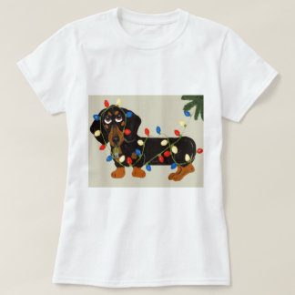 Dachshund Tangled In Christmas Lights Blk/Tan T-Shirt