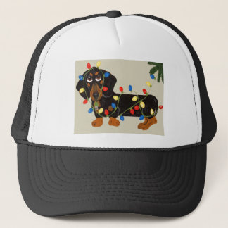 Dachshund Tangled In Christmas Lights Blk/Tan Trucker Hat