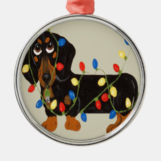 Dachshund Tangled In Christmas Lights Blk/TanOrnam Christmas Ornament