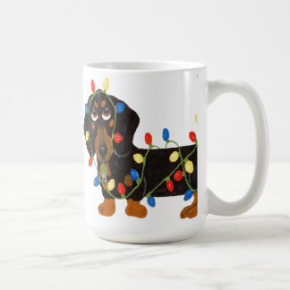 Dachshund Tangled In Christmas Lights Mug
