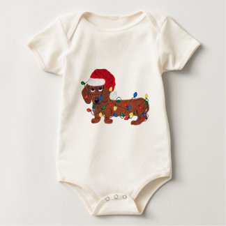 Dachshund Tangled In Christmas Lights (Red) Baby Bodysuit
