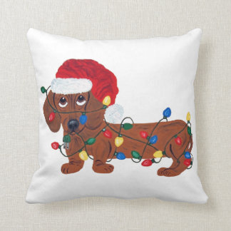 Dachshund Tangled In Christmas Lights (Red) Cushion