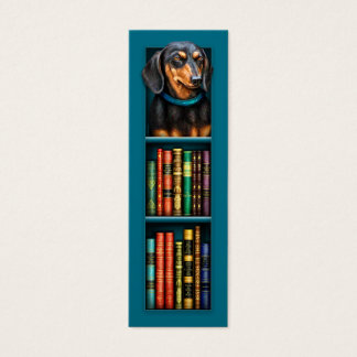 Dachshund Teal Bookmark Mini Business Card