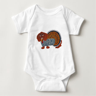 Dachshund Thanksgiving Turkey Baby Bodysuit