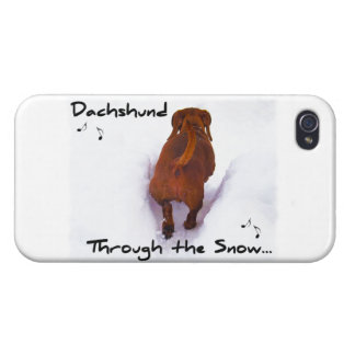 Dachshund Through Snow Dashing Through the Snow iPhone 4/4S Covers