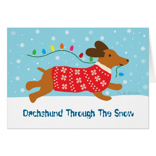 Dachshund Through The Snow Christmas Holiday Card