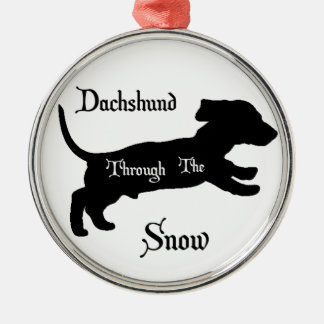 Dachshund through the snow christmas ornament