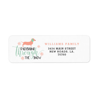 Dachshund Through the Snow Christmas Return Address Label