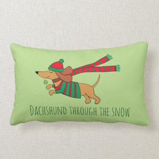 "Dachshund Through the Snow Throw  Pillow 13"" x 21"""